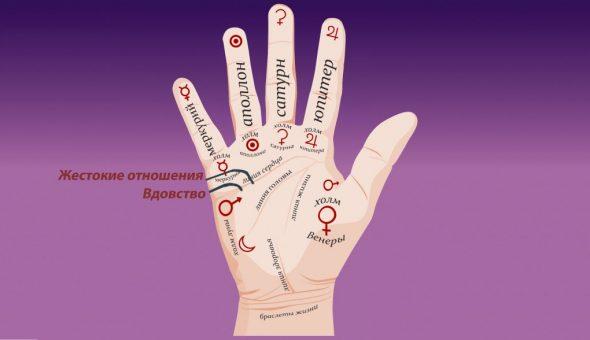 Варианты значения линии черной вдовы на руке